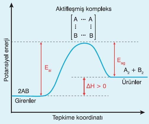 Endotermik Tepkimenin Enerji-TK Grafiği