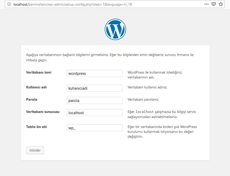 WordPress Kurulum Sayfası 2. Adım