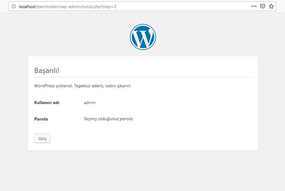 WordPress Kurulum Sayfası Son Adım